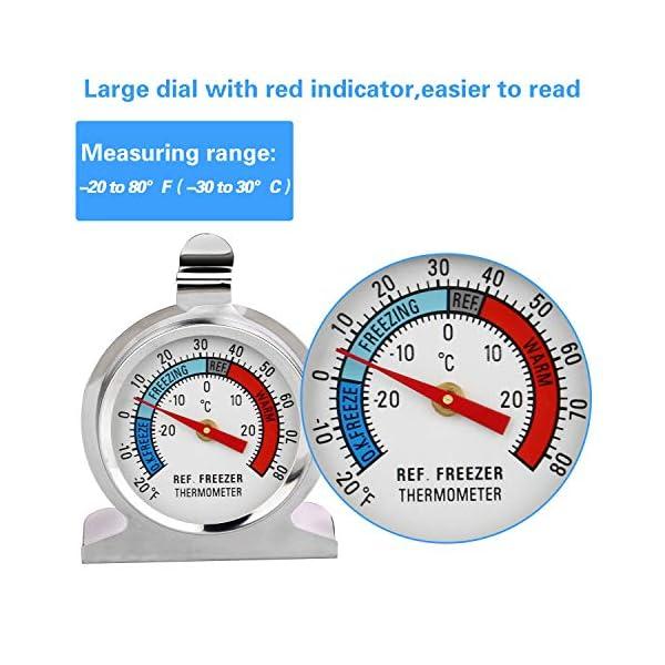 Thlevel Termometro da Frigo in Acciaio INOX Termometro per Congelatore e Frigorifero con Gancio per Appendere per Casa… 4