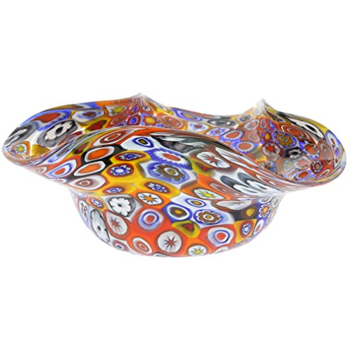 Murano Glass Bowl (GlassOfVenice Murano Glass Millefiori Decorative Bowl - Multicolor)
