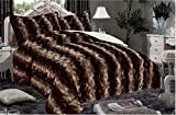 WPM Luxurious Faux Fur Sherpa Borrego 2 Ply Reversible Blanket Queen 100% Poloyester Microfiber Ultra Soft and Cozy (Castana)