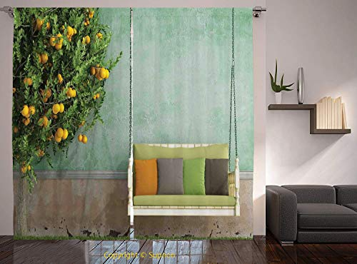Living Room Bedroom Window Drapes/Rod Pocket Curtain Panel Satin Curtains/2 Curtain Panels/108 x 95 Inch/Country Home Decor,Vintage Wooden Swing in the Garden of an Old House with a Lemon Tree Summert from YOLIYANA