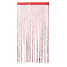 uxcell® Colorful Door String Thread Fringe Window Panel Room Divider Curtain Strip Tassel, 1 x 2M (Red)