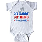 Inktastic - Daddy Hero US Coast Guard Infant Creeper 6 Months White