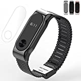 Thindom Metal Strap Band Bracelet For Xiaomi Band 2 Wristbands Screwless Stainless Steel Bracelet For Mi Band 2 (Black)