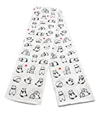 Tenugui Panda Cotton Hand Dish Towel 34 x 13.75 White Black (Set of 2)