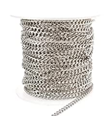 Superior quality sparkling stainless steel cuban curb chain. Hypoallergenic                Qty: 2 meter (6.5ft)           Size: 2.25w x 3.25l          Thickness: .62mm          Links: Unsoldered         Material: 304 stainless steel   ...