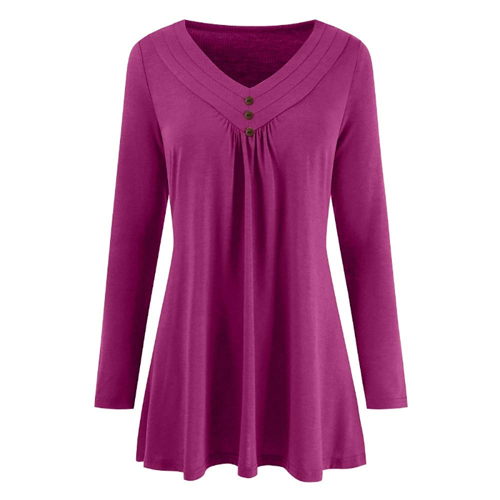 Women Autumn Solid Long Sleeve Vest Loose Button Cami Top V Neck Blouse Shirts Tee Hot Pink