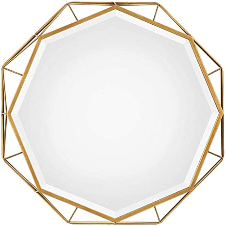 Amazon Com Z Jingzi Decorative Antique Gold 30 Geometric Large Metal Frame Hanging Wall Mirror Modern American Style Decor For The Living Room Bathroom Bedroom And Entryway Home Kitchen