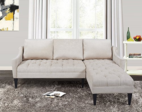 Jennifer Taylor Home, Reversible R/L Arm Facing, Sectional Sofa, Putty, Hand Tufted, Wooden Legs