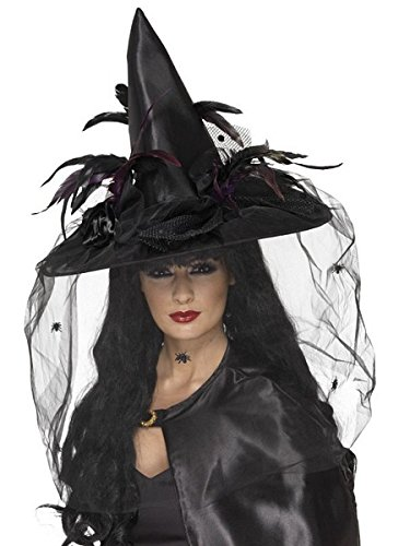 Smiffy's Women's Witch Hat with Feathers and Netting, Black One Size, (Adult Witch)