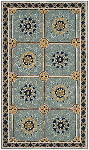 Safavieh Easy to Care Collection EZC711B Hand-Hooked Light Blue and Dark Blue Area Rug 2 x 3