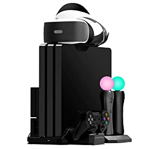 Kootek Charging Stand with Cooling Fan for Playstation VR Move Motion Controllers, Fit for PS4 Slim/PRO/Regular PS4 Console with DualShock 4 Wireless Controller EXT Port Charger (CUH-ZVR2 & 1)
