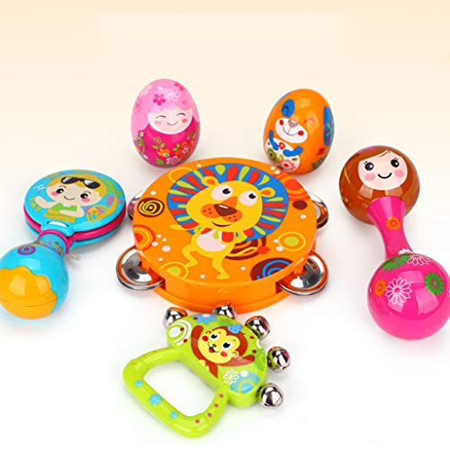 LIPENG-TOY Children's Educational Tambourine Infant Hand Drums Percussion Instrument 3-6-12 Months Set (Color : Multi-Colored) by LIPENG-TOY (Image #3)