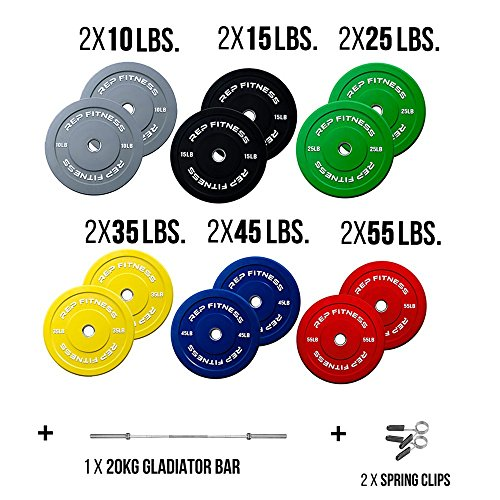 Rep Bar and Color Bumper Plate Package, 370 lb Set with 20kg Gladiator and Spring Clips