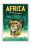 Africa by Clipper - Pan American World Airways (PAA) - African Cheetah - Vintage Airline Travel Poster c.1950 - Master Art Print - 13in x 19in