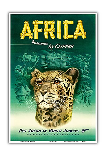 Africa by Clipper - Pan American World Airways (PAA) - African Cheetah - Vintage Airline Travel Poster c.1950 - Master Art Print - 13in x 19in by Pacifica Island Art