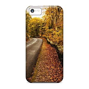 Hot Design Premium Aer1041JkAF Tpu Case Cover Iphone 5c Protection Case(road Through A Forest In Autumn)