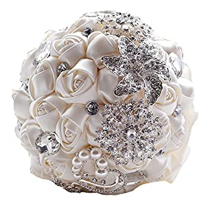 Artificial Crystal Wedding Flowers Bridal Brooch Bouquets 104