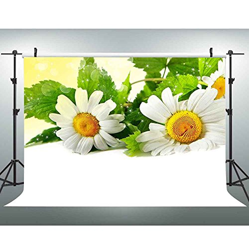 VVM Daisy Backdrop White Flowers and Green Leaves Flower Photography Background for Wedding Birthday Party Portraits Photo Booth Backdrop 7x5Ft VV395 ()