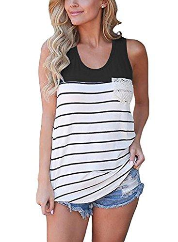 (Hount Women's Summer Colorblock Racerback Cami Tank Tops Sleeveless Loose Striped Tunic Tops Blouses Shirts (Medium, Black))