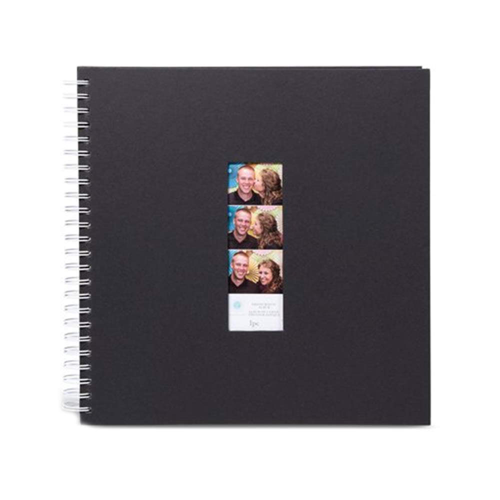 Photo Booth Album - Blank Guest Book To Sign In With Photo Booth Window Strip On Front - 50 Pages, Black (1 Pack)