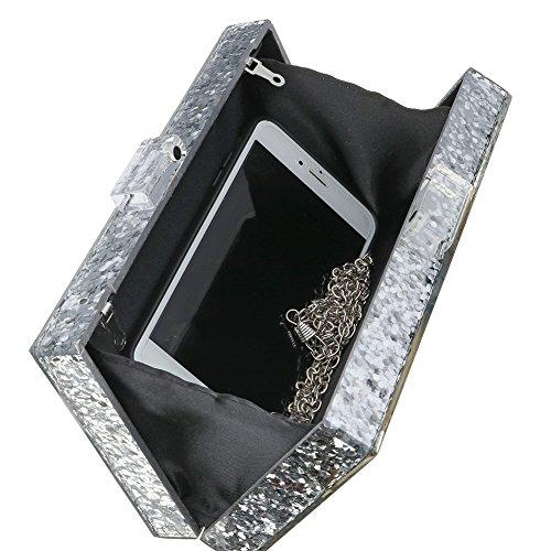 Clutch Silver Bag Handbags Glitter for Women Acrylic Bags Purse Perspex 5FxqfaFP