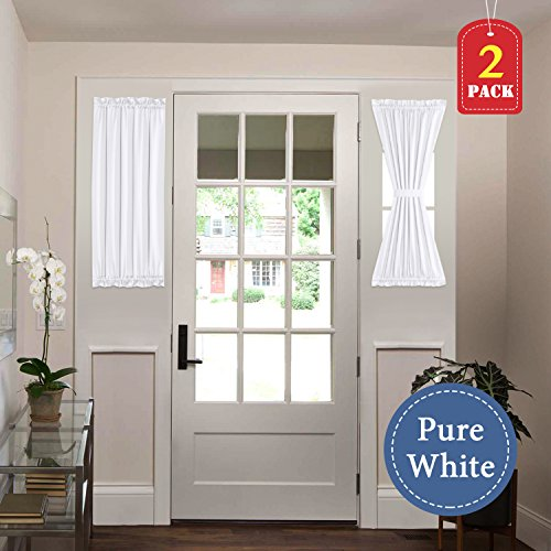 H.VERSAILTEX White Curtains Privacy French Door Panels Light Reducing 25 inch Wide x 40 inch Length with Tie-Backs (2 Panels, Pure White)