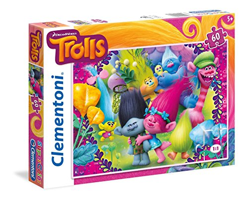 """Clementoni """"Trolls - A Frown Is A Smile Upside Down!"""" Puzzle (60 Piece)"""