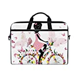 LIUBT Pink Fairy Girl Floral Bicycle Laptop Shoulder Messenger Bag Computer Briefcase Business Notebook Sleeve Cover Carrying Handle Bag for 14 inch to 15.6 inch