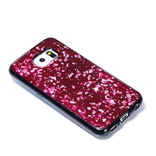 EUWLY Funda Samsung Galaxy S6, Carcasa Samsung Galaxy S6 Silicona, Ultra Slim Flexible Silicona Parachoques Gel TPU Case Cover Glitter Sparkle Brillo de Colores Brillante Lentejuelas Diseño Silicona C Rojo