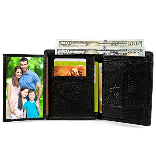 YALUXE Leather Trifold Wallet Pocket