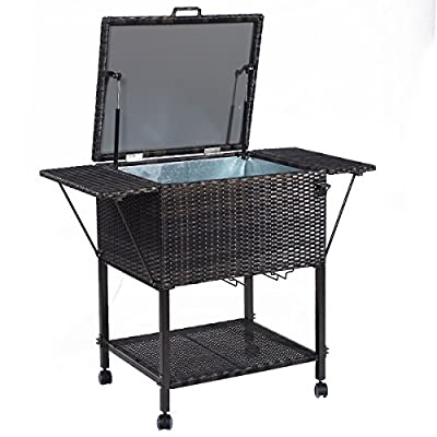 Giantex Portable Rattan Cooler Cart Trolley Outdoor Patio Pool Party Ice Drinks Brown