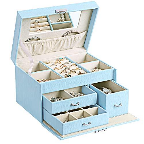 BEWISHOME 20 Section Girls Jewelry Box Jewelry Organizer with Lock Portable Jewelry Storage Case for Women Girls Kids Blue SSH78L from BEWISHOME
