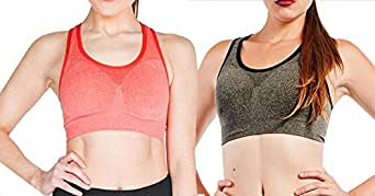 Seamless Cami Racer Back Sport Bra (Small, 2 Pack: Heather Charcoal & Heather Coral)