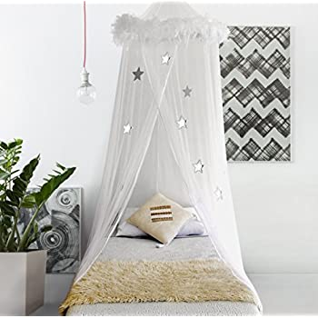 Boho & Beach Bed Canopy Mosquito Net Curtains with Feathers and Stars for  Girls Toddlers and