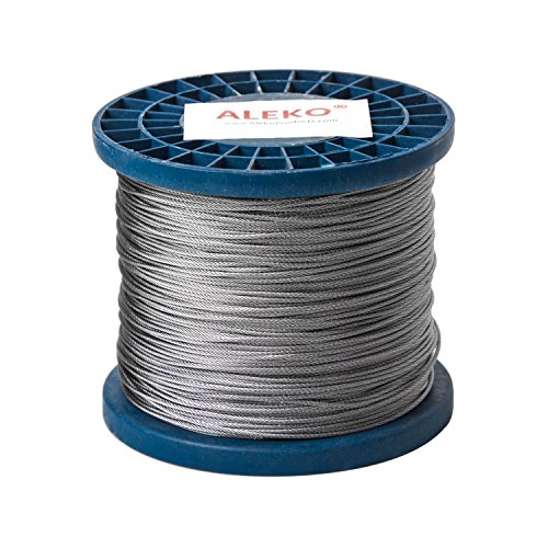 - ALEKO WR1/16G304F1000 1/16 Inch Diameter 7 x 7 Strand Galvanized Aircraft Steel Cable Wire Rope 1000 Feet