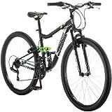 "27.5"" Mongoose Ledge 2.1 Men s Bike for a Path, Trail & Mountains,Black, Aluminum Full Suspension Frame, Twist Shifters Through 21 Speeds"