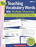 "These quick and easy activities help intermediate-grade students build vocabulary and comprehension by learning to use the right word in the right place at the right time. Research-based lessons include daily, formatted ""word-of-the-week"" activiti..."