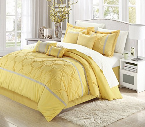 Vermont Yellow & Grey Queen 12 Piece Embroidered Bed In A Bag Set Sheet Set - Embroidered Bed