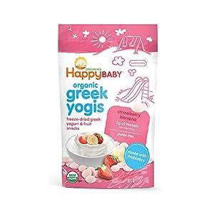 Happy Baby Organic Greek Yogis Freeze-Dried Greek Yogurt and Fruit Snacks, Strawberry/Banana, 1 Ounce