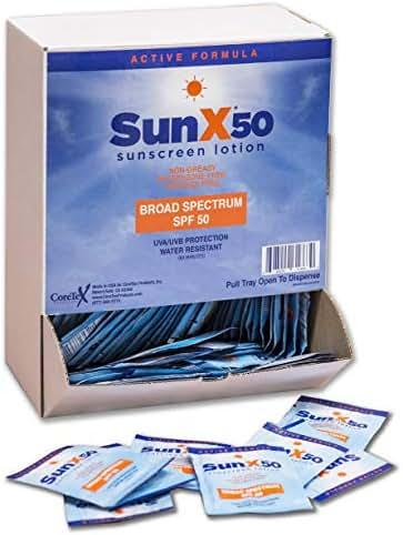 SunX SPF50 Broad Spectrum Sunscreen Dispenser Box, 100-Pack