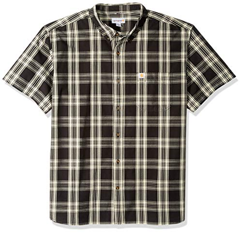 Carhartt Men's Big Big & Tall Essential Plaid Button Down Short Sleeve Shirt, Black, 2X-Large/Tall