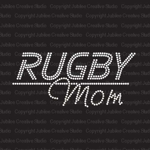 Rugby Mom Iron On Rhinestone Crystal T-shirt Transfer by Jubilee Rhinestones