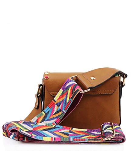 Small Leahward Studded Faux Bag With Cross Strap Body Leather Multicoloured Navy Aztec cWTAv7c