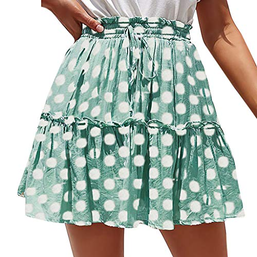 (IAMUP Fashion Women Summer Dress Casual Polka Dot Print Ruffles A-Line Pleated Lace Up Short Skirt Beach Party Dress)