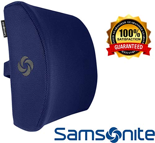 Samsonite SA5294 Lumbar Support Cushion/Navy Ergonomic Pillow-Helps Relieve Lower Back Pain-100% Pure Memory Foam-Improves Posture-Fits Most Seats-Breathable Mesh-Washable Cover-Adjustable Strap - Chair Adjustable Seat