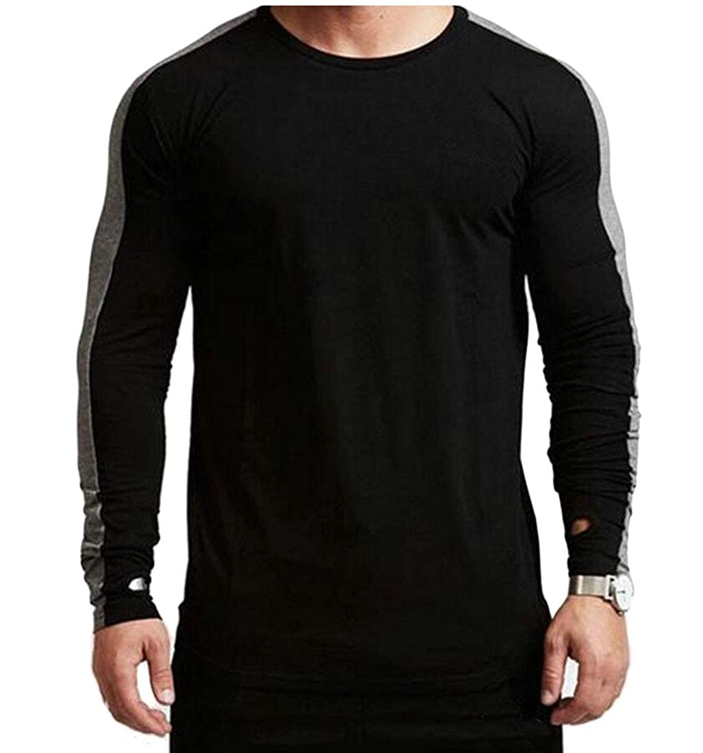 Unko Mens Long Sleeve Shirt Slim Fit O Neck Tops Muscle Casual Blouse