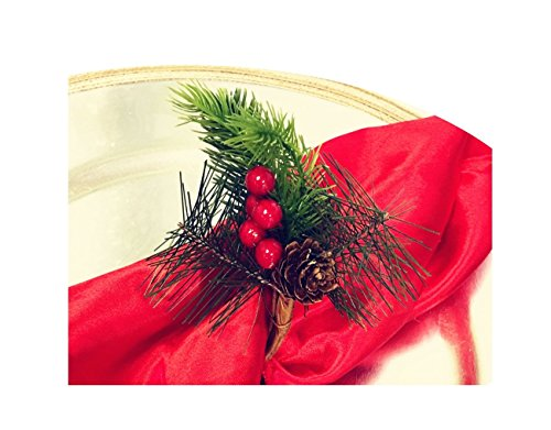 Angel Isabella Nature-Inspired Napkin Ring/Holders for Christmas Table Decoration and Winter Holiday Party (Set of 4, 6, 8, 10, 12,16) (8)