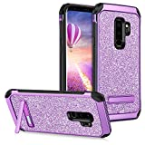 GUAGUA Galaxy S9 Plus Case Kickstand Slim Glitter Sparkly 2 in 1 Hybrid Hard PC Cover with Bling Faux Leather Girls Women Shockproof Protective Tough Phone Case for Samsung Galaxy S9 Plus(2018) Purple