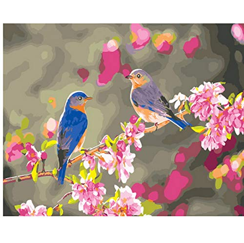 CYKEJISD Frameless Picture Oil Painting by Numbers Wall Decor DIY Painting On Canvas for Home Decor 40X50Cm Bird Talking