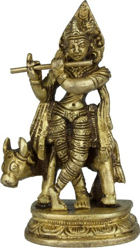 Lord Krishna with His Cow (Small Statue) - Brass Statue